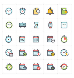 icon set - time and schedule full color vector image