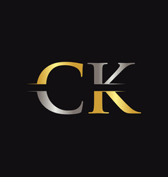 initial ck letter logo with creative modern vector image