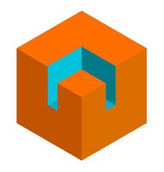 isometric 3d duotone conceptual cube icon vector image