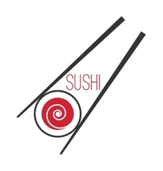 Japanese sushi bar food logo template vector image