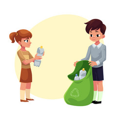 Kids collect plastic bottles into garbage bag vector