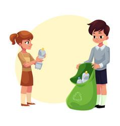 kids collect plastic bottles into garbage bag vector image