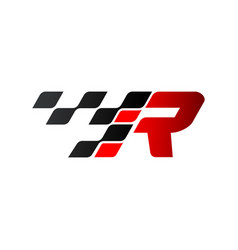 Letter r with racing flag logo vector