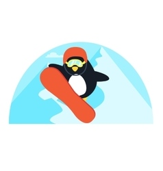 Little cute penguin snowboarding vector