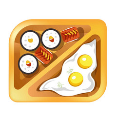 Lunch box meals healthy diet food of fried eggs vector