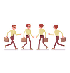 male clerk walking and running vector image