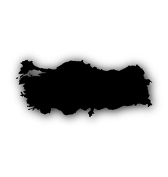 Map of Turkey with shadow vector
