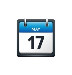 May 17 calendar icon flat vector