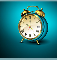 Metal retro style alarm clock on blue background vector