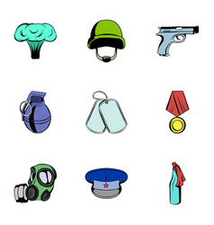Military theme icons set cartoon style vector