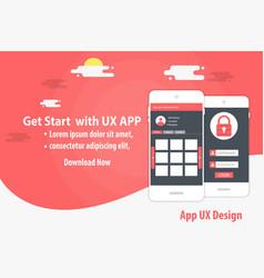 mobile app ux design template concept vector image