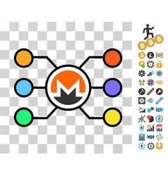 monero network structure icon with bonus vector image