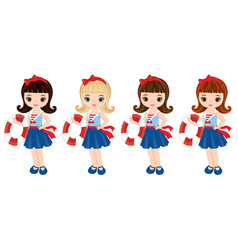 Nautical little girls with buoys vector
