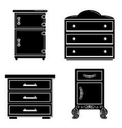 Nightstand icon set simple style vector