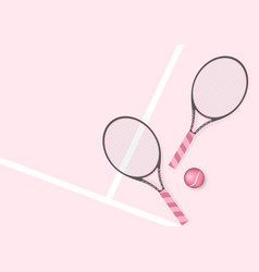 pastel pink tennis racket and tennis ball vector image