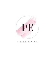 Pe p e watercolor letter logo design with vector
