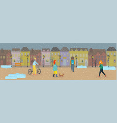 people walking first snow on streets old town vector image