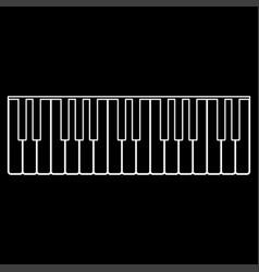 piano keys white color path icon vector image vector image
