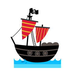 pirate isolated icon with ship vector image