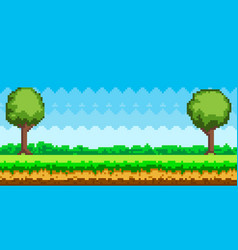 Pixel-game background pixel art game scene vector