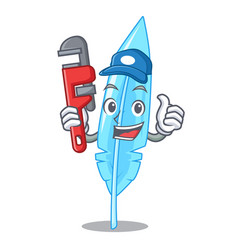 Plumber feather mascot cartoon style vector
