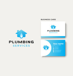 plumbing house logo template isolated in white vector image