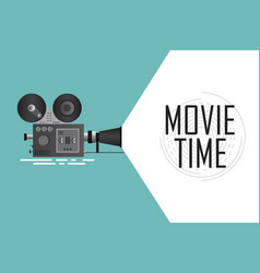 Retro cinema projector time for movie poster vector
