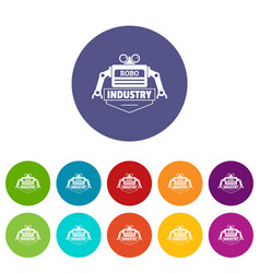 robot icons set color vector image
