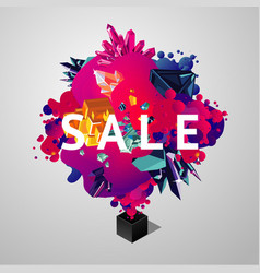 sale banner with briht spots and crystals sale vector image