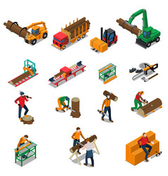 sawmill timber mill lumberjack icon set vector image