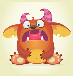 scared cartoon monster vector image