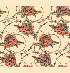 seamless pattern with flowers and chains vector image