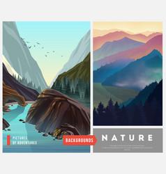 set nature landscape backgrounds vector image
