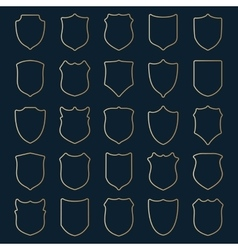 set of golden contour shields vector image