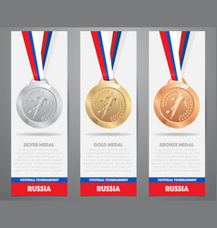 set of medal on white banner gold silver vector image