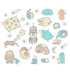 Sleep and dream doodle set - cute cartoon animals vector