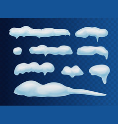 snow caps snowballs and snowdrifts realistic set vector image