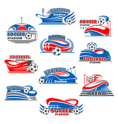 Soccer stadium icon of football sport building vector