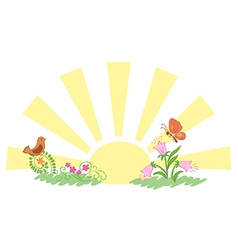 Sunrise and summer nature vector