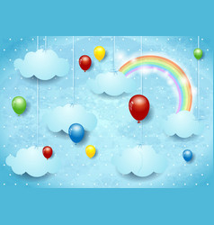 Surreal cloudscape with colorful balloons vector