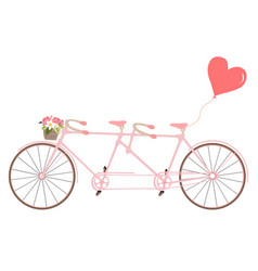 tandem bicycle with flowers design vector image