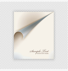 the curved sheet of paper on isolate background vector image