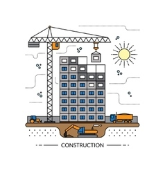 Thin line construction site concept vector image
