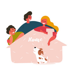 Three friends and adopted pet from shelter house vector