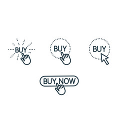 Touch and press buy button line icons set on white vector