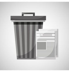 Trash can and paper recycling icon vector