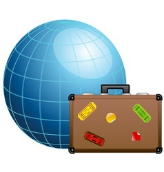 Travel concept Blue globe and travel suitcase vector image