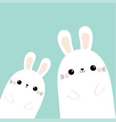 two rabbit bunny in corner friends forever vector image