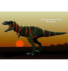 Tyrannosaurus Rex Dinosaur walking at sunset vector