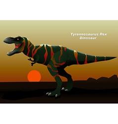 Tyrannosaurus rex dinosaur walking at sunset vector